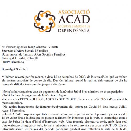 Demandes d'ACAD al Secretari d'Afers Socials i Famílies