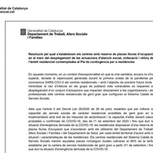 Resolució pel qual s'estableixen els centres amb reserva de places lliures d'ocupació