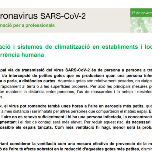 Ventilació i sistemes de climatització en establiments i locals de concurrència humana