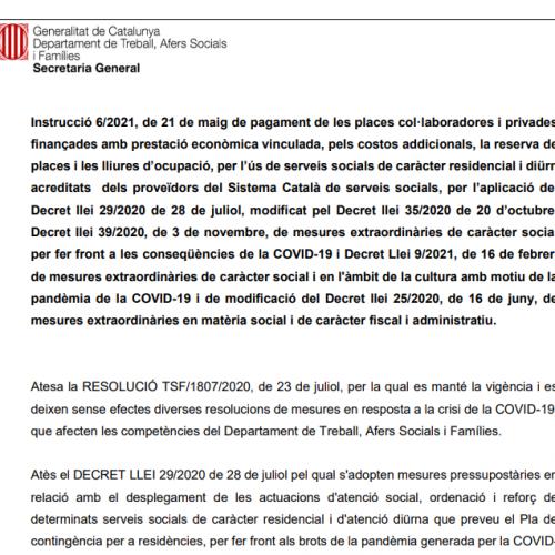 Instrucció 6/2021 on es resumeix diverses instruccions sobre els pagaments de les indemnitzacions Covid