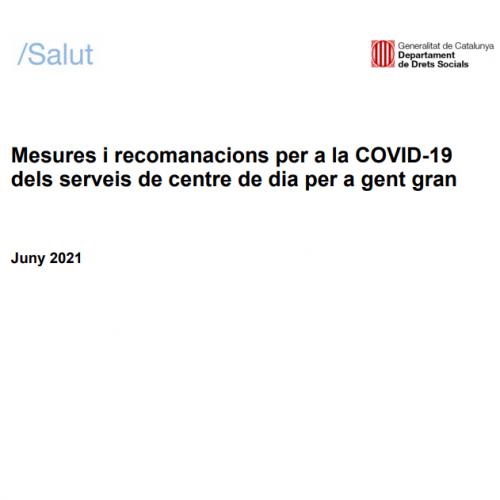 Noves mesures i recomanacions per a la COVID-19 dels serveis de centre de dia per a gent gran